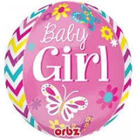 "16"" Beautiful Baby Girl Orbz Helium Foil Balloon"