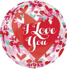 "16""-Orbz I Love You Roses Helium Foil Balloon"