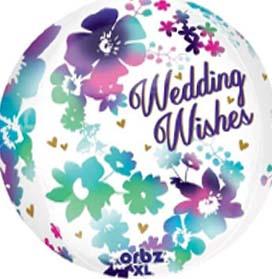 "16"" Orbz Watercolor Wedding Wishes Helium Balloon"