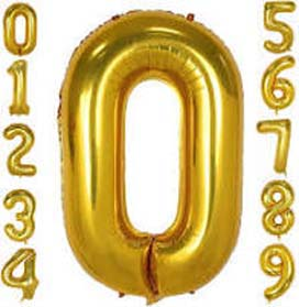 """34"""" Gold Number 0 Helium Foil Balloon"""