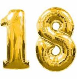 """34"""" Gold Number 18 Helium Foil Balloon"""