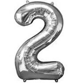 Silver Number 2 Helium Foil Balloon
