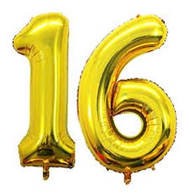 """16"""" Gold Number 16 Helium Foil Balloon"""