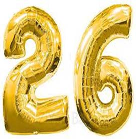 """34"""" Gold Double Number Helium Foil Balloon"""